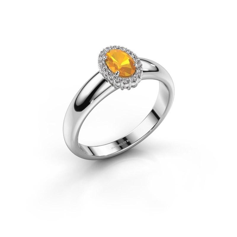 Engagement ring Tamie 950 platinum citrin 6x4 mm