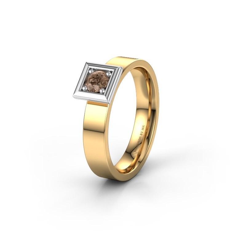 Trouwring WH2112L14A 585 goud bruine diamant ±4x1.7 mm