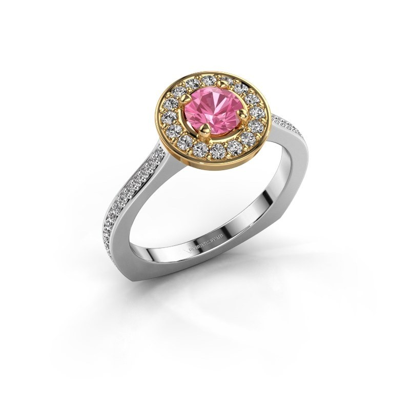 Ring Kanisha 2 585 witgoud roze saffier 5 mm