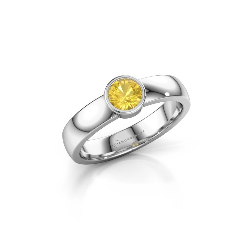 Ring Ise 1 925 silver yellow sapphire 4.7 mm