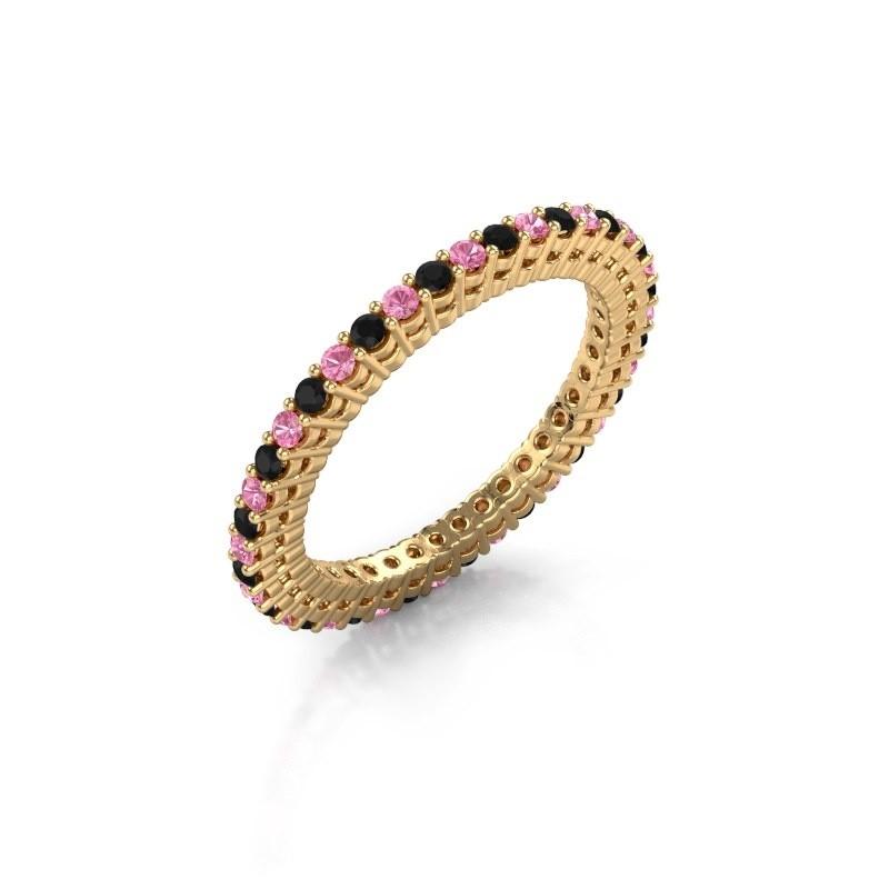 Aanschuifring Rufina 1 375 goud roze saffier 1.5 mm