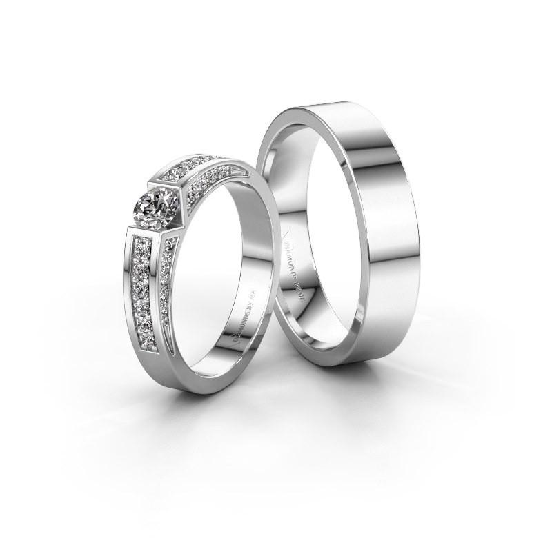 Trouwringen set WH2098LM15AP ±5x1.7 mm 14 karaat witgoud diamant 0.25 crt
