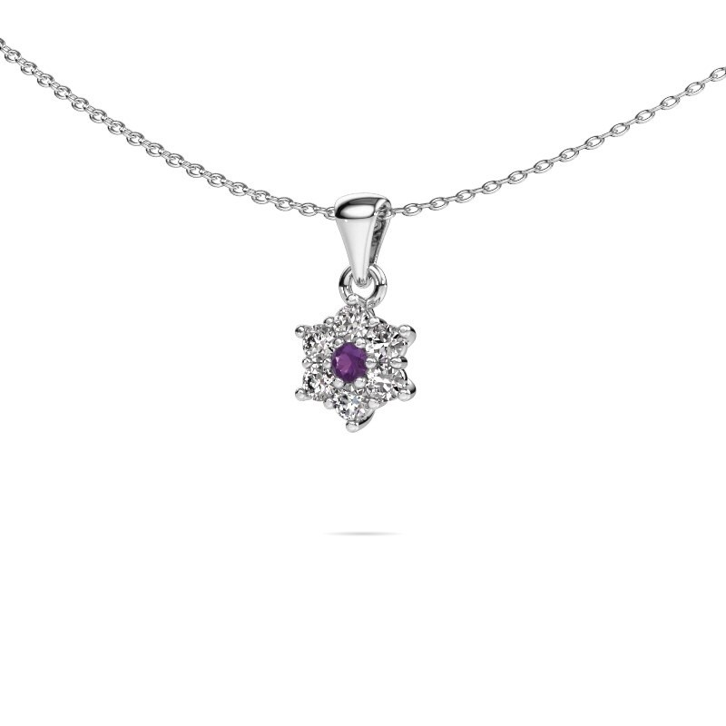 Ketting Chantal 585 witgoud amethist 2.4 mm