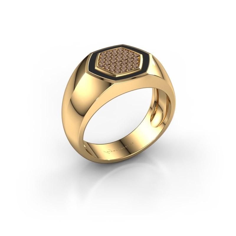 Heren ring Kris 375 goud bruine diamant 0.248 crt