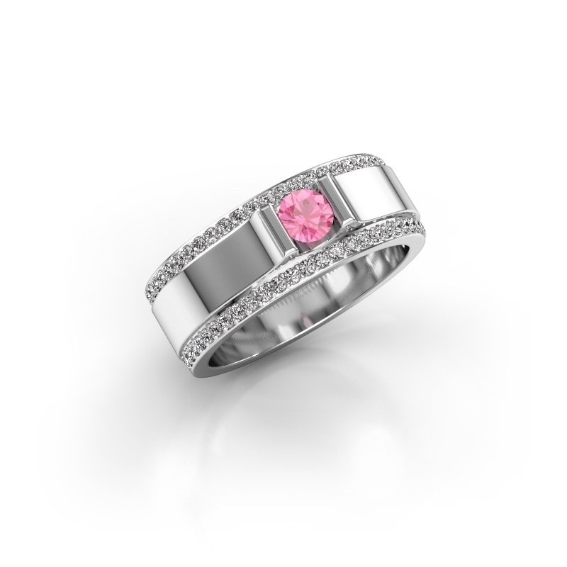 Men's ring Danillo 585 white gold pink sapphire 4.2 mm
