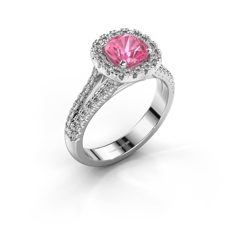 Verlovingsring Francesca 925 zilver roze saffier 6 mm
