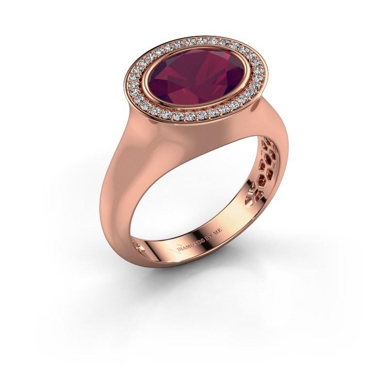 Ring Phebe 375 rose gold rhodolite 10x8 mm