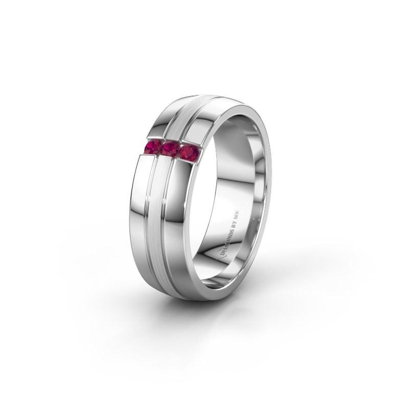Wedding ring WH0426L26A 585 white gold rhodolite ±0.24x0.07 in