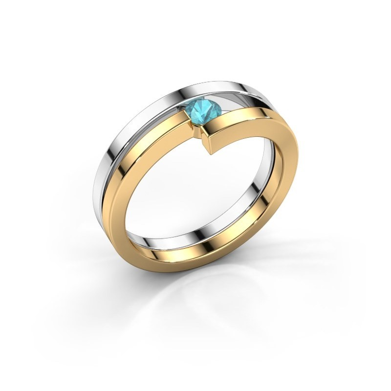 Ring Nikia 585 witgoud blauw topaas 3.4 mm