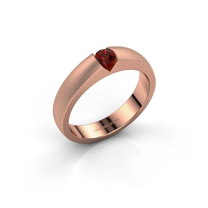 Verlovingsring Theresia 375 rosé goud granaat 3.4 mm