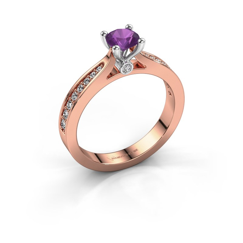 Engagement ring Evelien 585 rose gold amethyst 5 mm