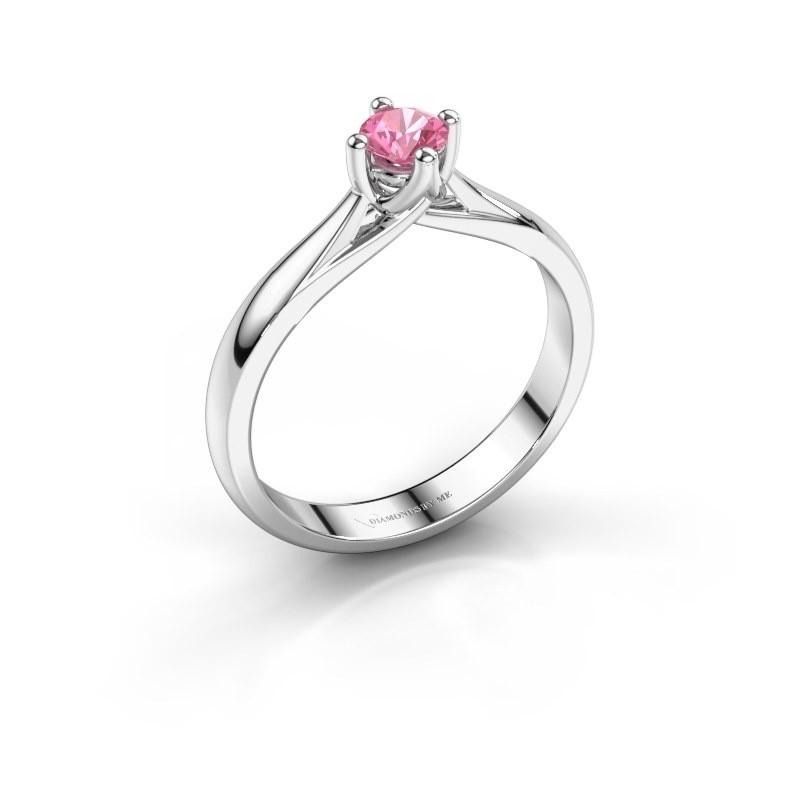 Verlobungsring Janne 585 Weißgold Pink Saphir 4.2 mm