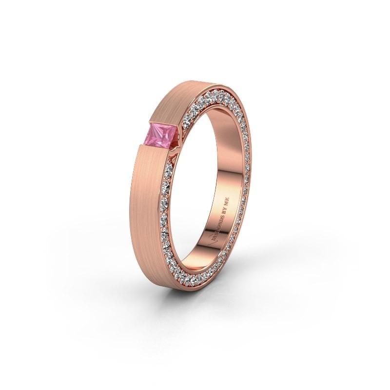 Wedding ring WH2140L14B 375 rose gold pink sapphire ±3,5x2 mm