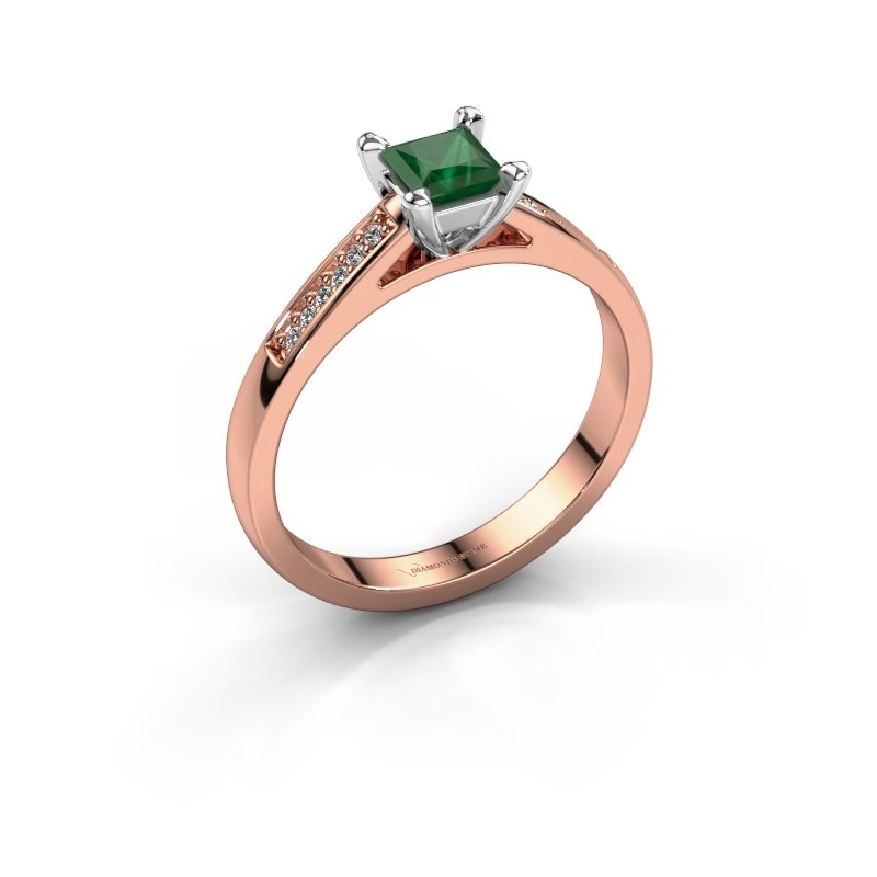 Engagement ring Nynke SQR 585 rose gold emerald 4 mm