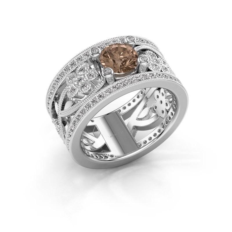 Ring Severine 950 platina bruine diamant 1.405 crt