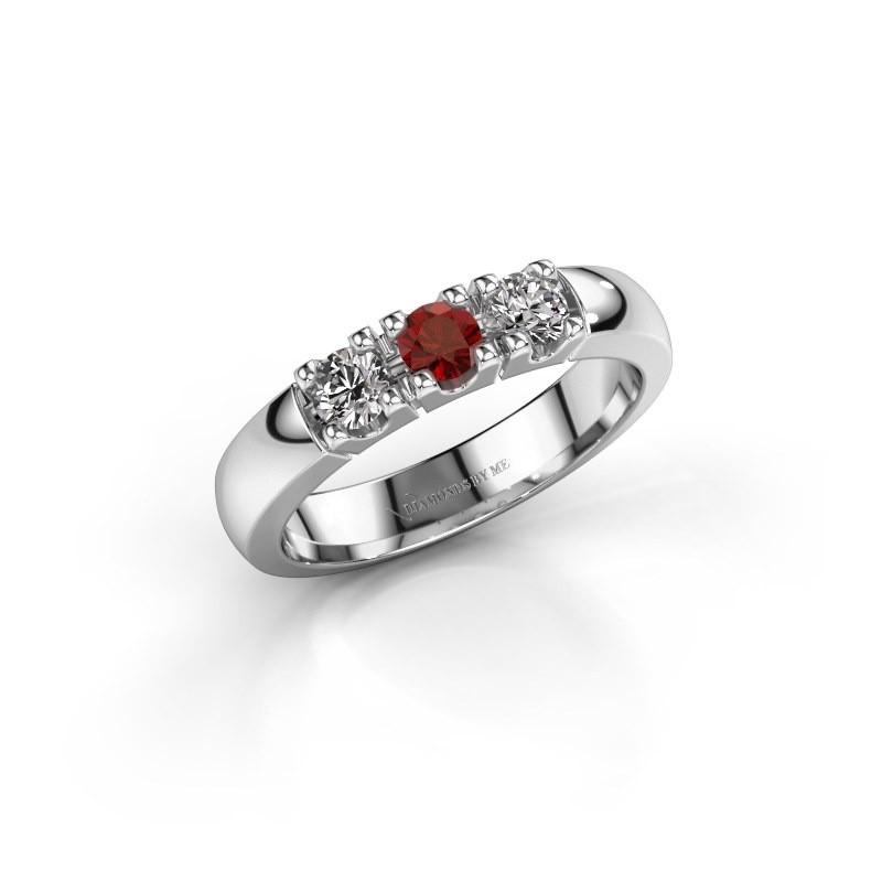 Engagement ring Rianne 3 925 silver garnet 3.4 mm