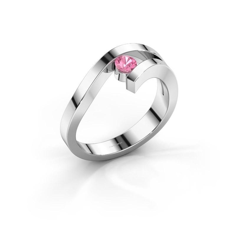 Ring Evalyn 1 925 zilver roze saffier 3.7 mm