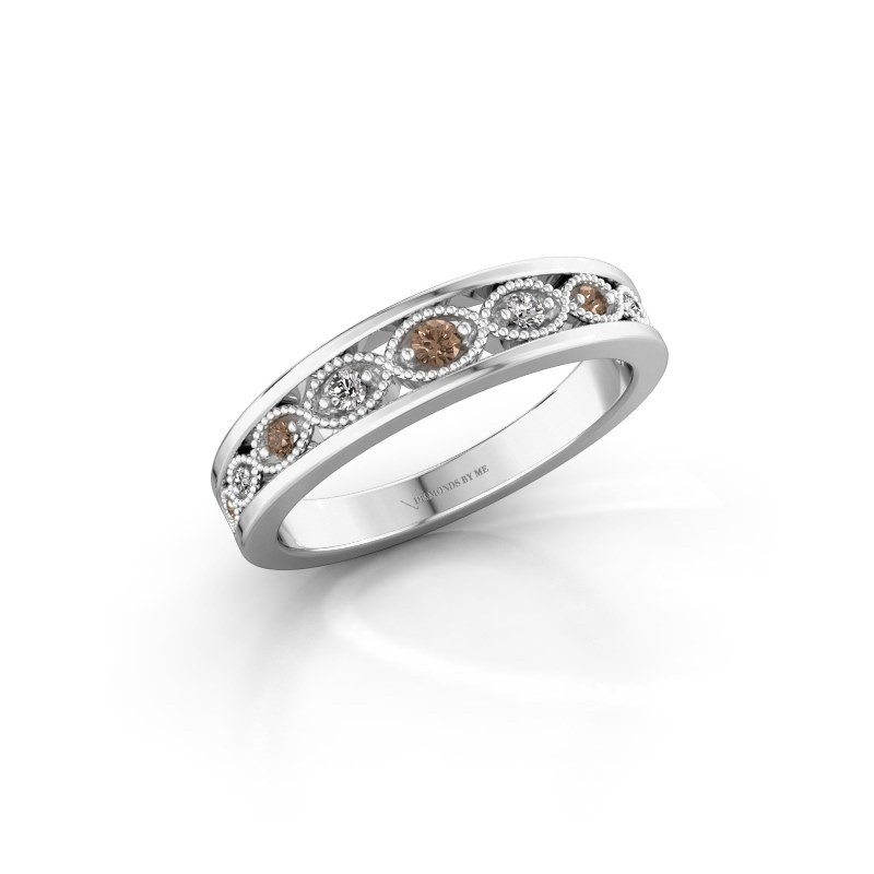 Stackable ring Laine 585 white gold brown diamond 0.125 crt
