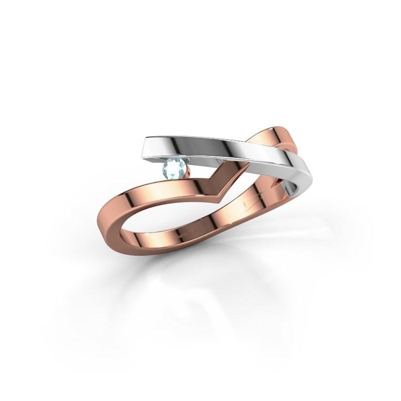 Ring Pamella 585 rosé goud aquamarijn 2.2 mm