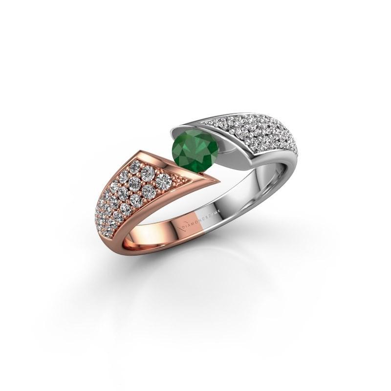 Engagement ring Hojalien 3 585 rose gold emerald 4.2 mm