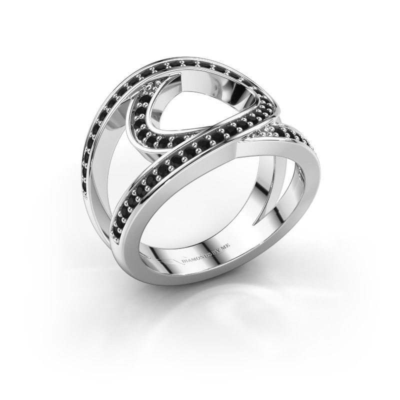 Ring Louise 925 zilver zwarte diamant 0.53 crt
