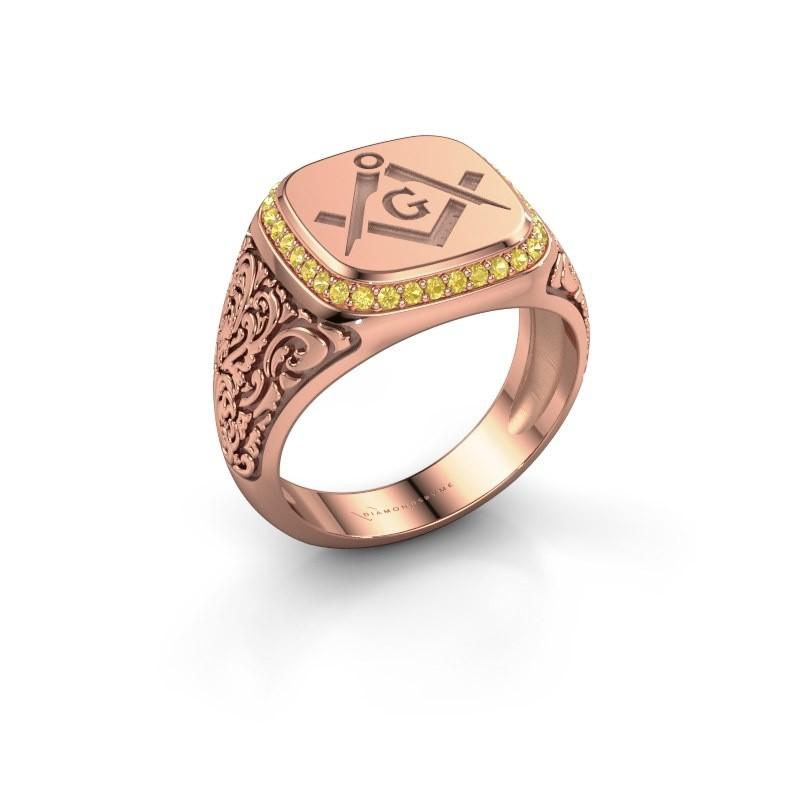 Men's ring Hugo 375 rose gold yellow sapphire 1.2 mm