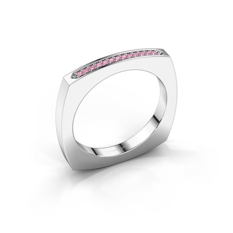 Stackable ring Ashley 950 platinum pink sapphire 1 mm
