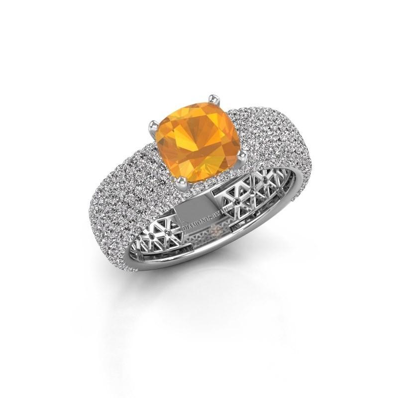 Engagement ring Darcy 950 platinum citrin 7 mm