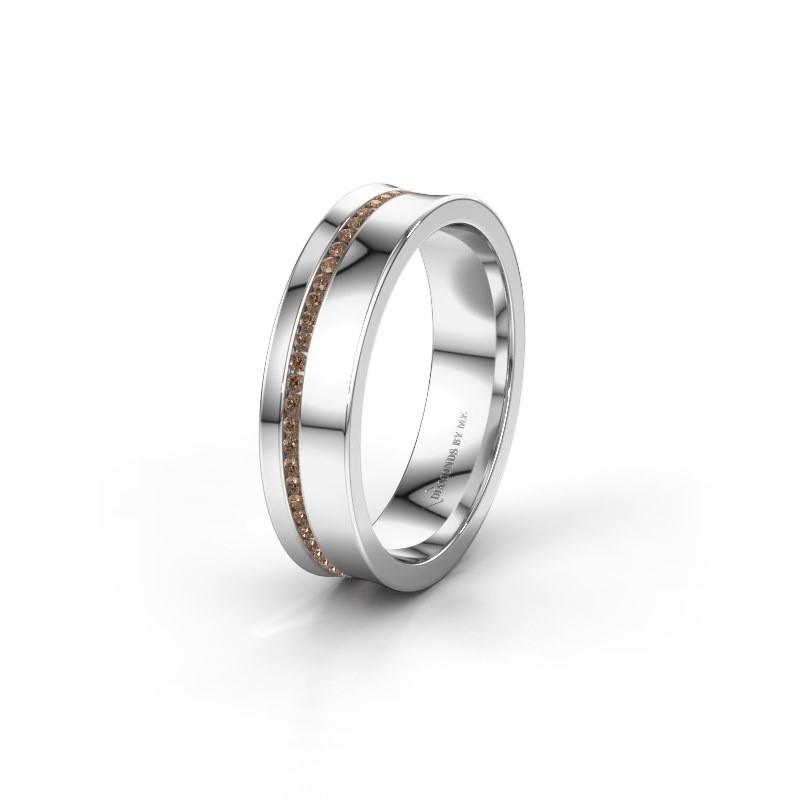 Wedding ring WH6090L55A 585 white gold brown diamond ±5x1.7 mm