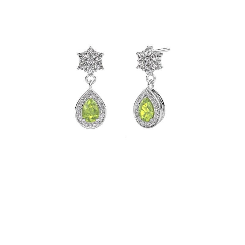 Drop earrings Era 950 platinum peridot 6x4 mm