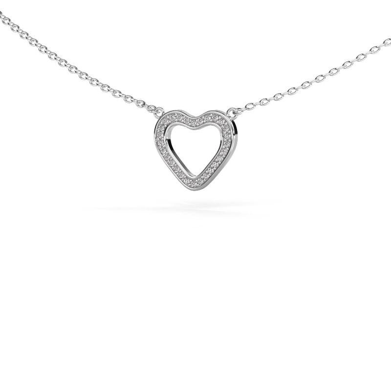 Pendentif Heart 3 585 or blanc zircone 0.8 mm