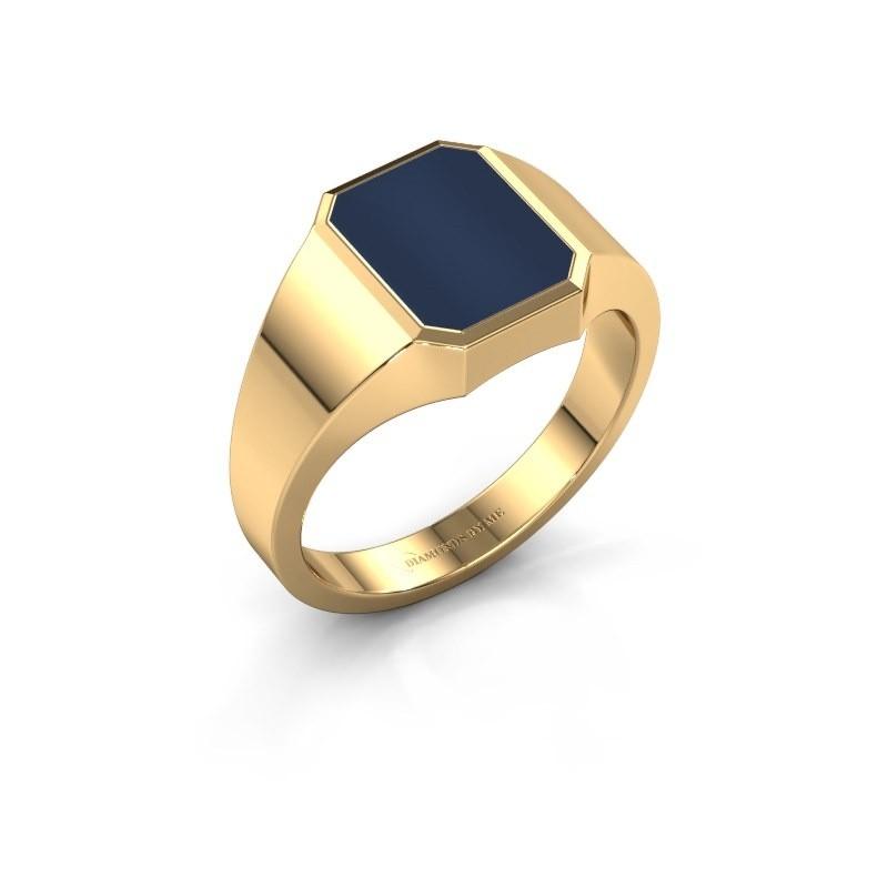 Zegelring Lars 1 F 585 goud donker blauw lagensteen 10x8 mm