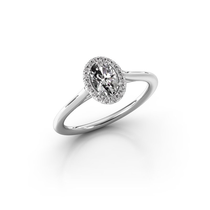 Engagement ring Seline 1 925 silver zirconia 6x4 mm