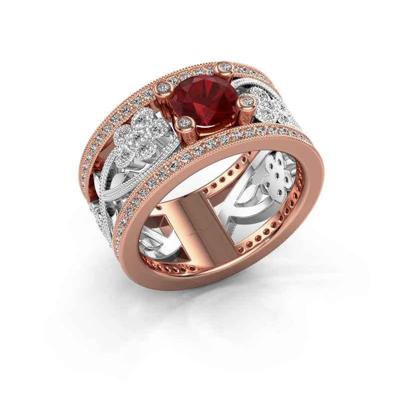 Ring Severine 585 rosé goud robijn 6 mm