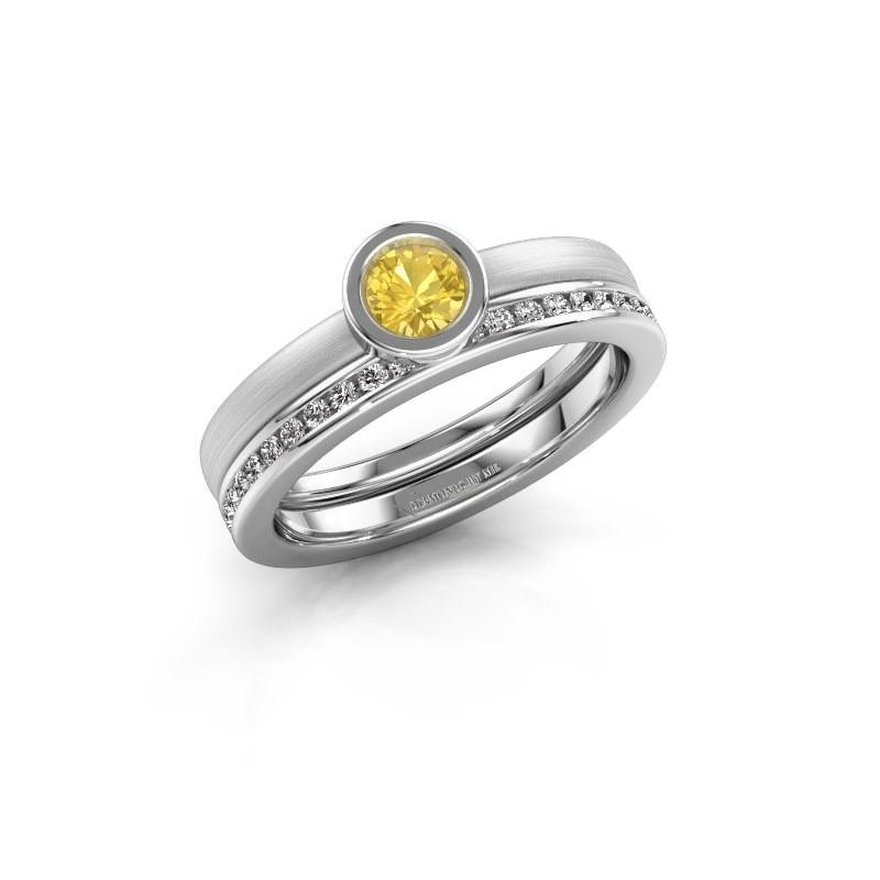 Ring Cara 950 platinum yellow sapphire 4 mm