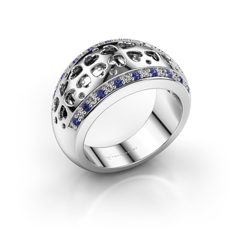 Ring Tirza 585 witgoud saffier 1.3 mm