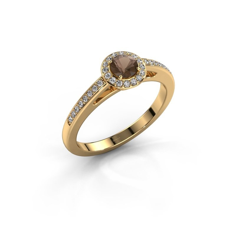 Engagement ring Aaf 375 gold smokey quartz 4.2 mm