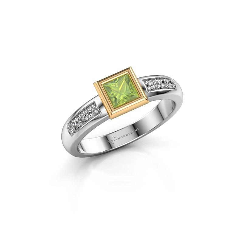 Stacking ring Lieke Square 585 white gold peridot 4 mm