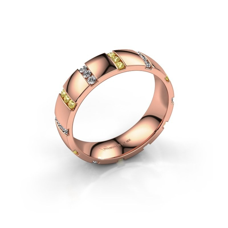 Huwelijksring Juul 375 rosé goud gele saffier ±5x1.8 mm