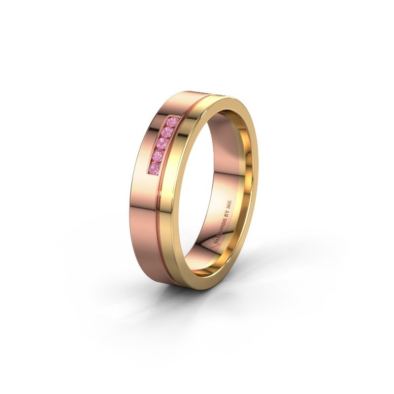 Trouwring WH0307L15AP 585 rosé goud roze saffier ±5x1.7 mm