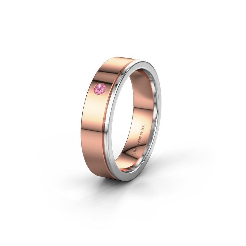Trouwring WH0501L15AP 585 rosé goud roze saffier ±5x1.7 mm