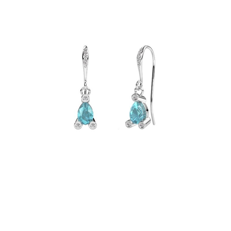 Drop earrings Bunny 2 375 white gold blue topaz 7x5 mm