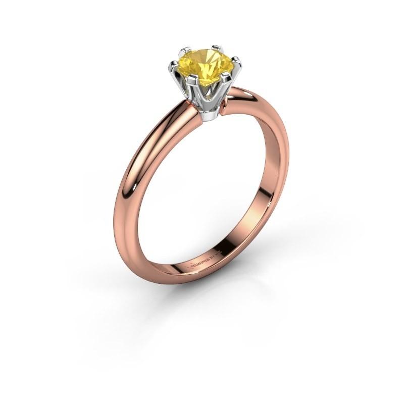 Verlovingsring Tiffy 1 585 rosé goud gele saffier 5 mm
