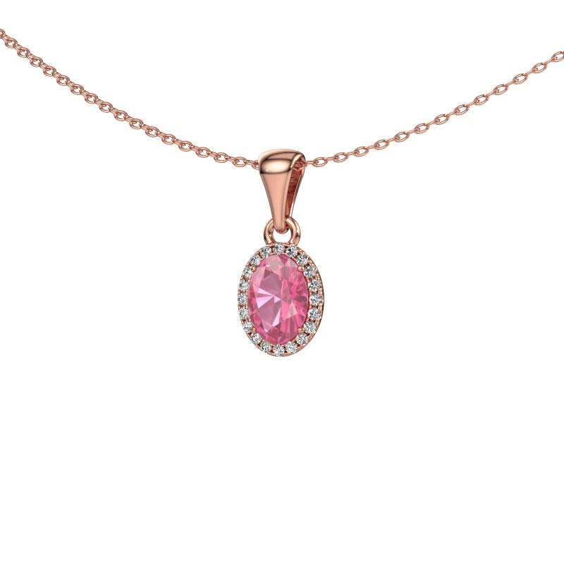 Hanger Seline ovl 585 rosé goud roze saffier 7x5 mm