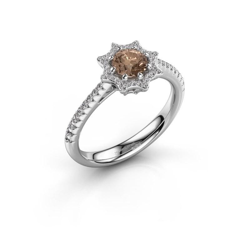Aanzoeksring Zena 925 zilver bruine diamant 0.730 crt
