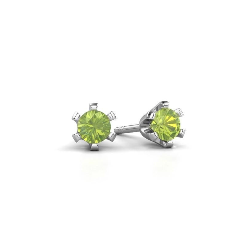 Stud earrings Shana 925 silver peridot 4 mm