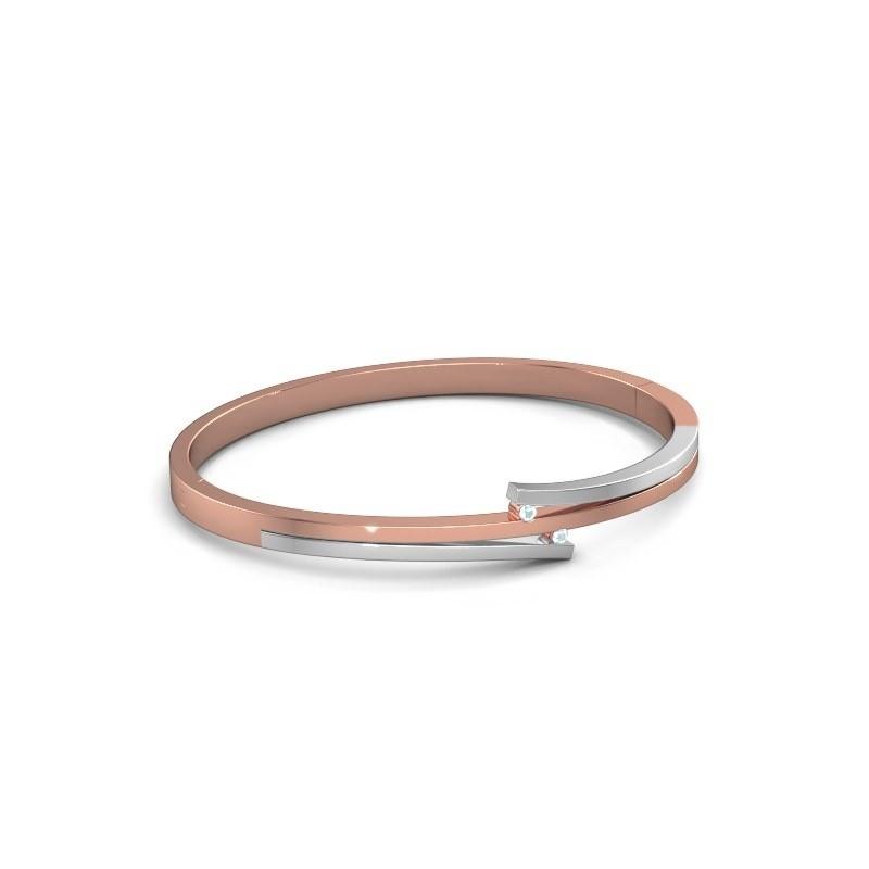 Armband Roxane 585 rosé goud aquamarijn 2 mm