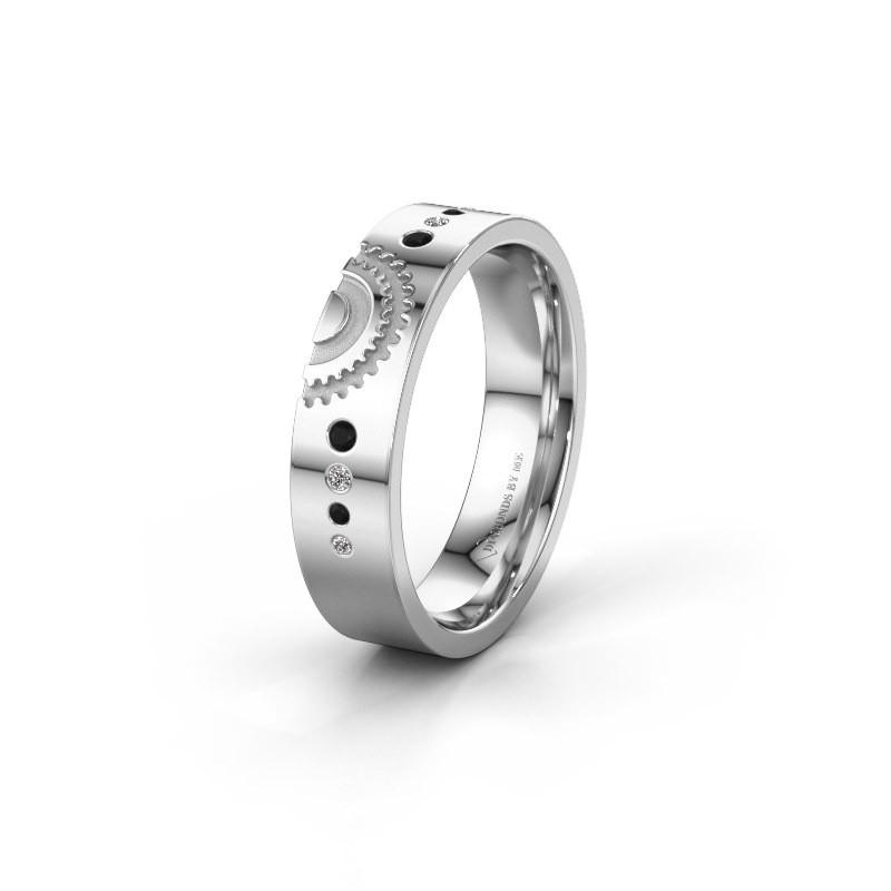 Trouwring WH2116L25A 925 zilver zwarte diamant ±5x1.7 mm