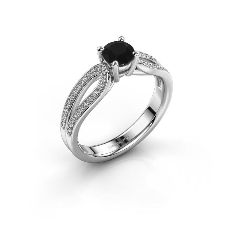 Verlovingsring Antonia 2 925 zilver zwarte diamant 0.83 crt