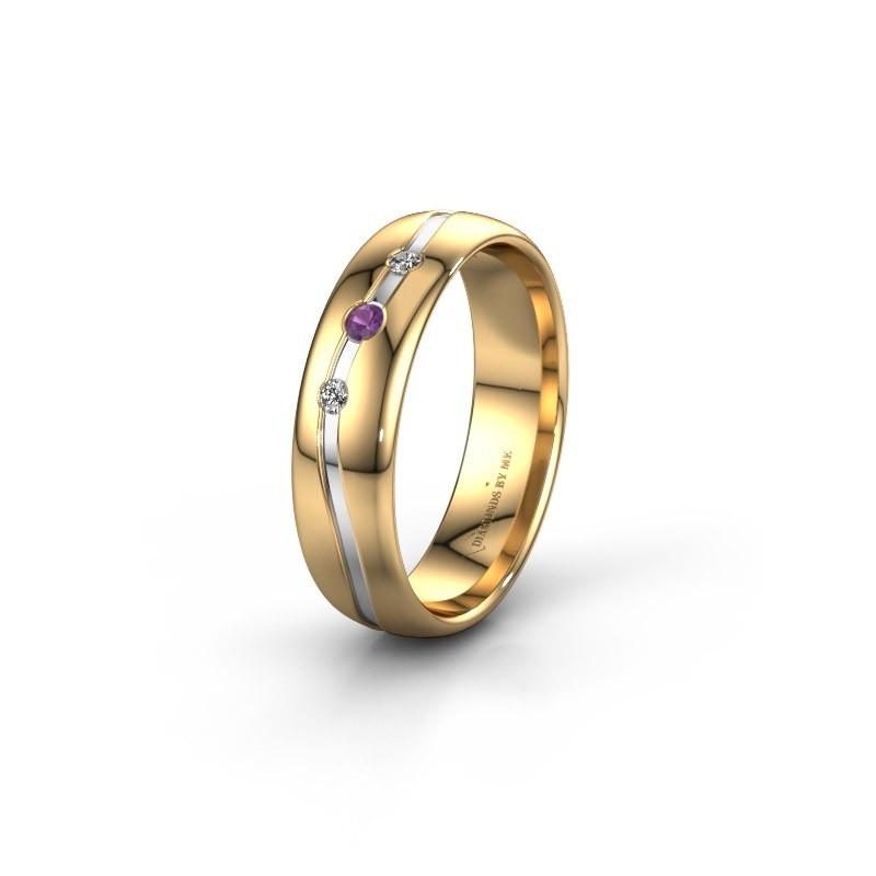 Vriendschapsring WH0907L35X 585 goud amethist ±5x1.4 mm